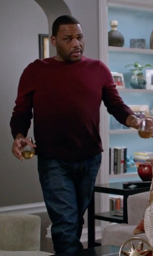 Anthony Anderson with Ted Baker London 'Holaday' Modern Slim Fit Ombré Crewneck Sweater in Black-ish