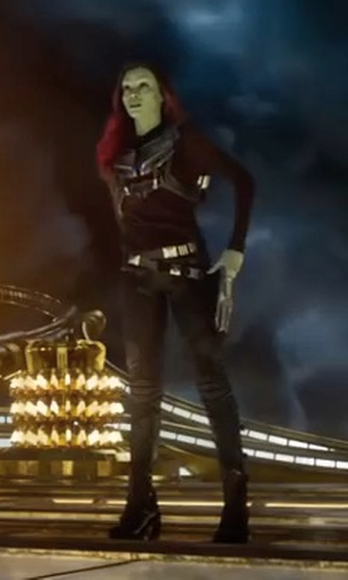 Zoe Saldana with Anine Bing Biker Leather Pants in Guardians of the Galaxy Vol. 2