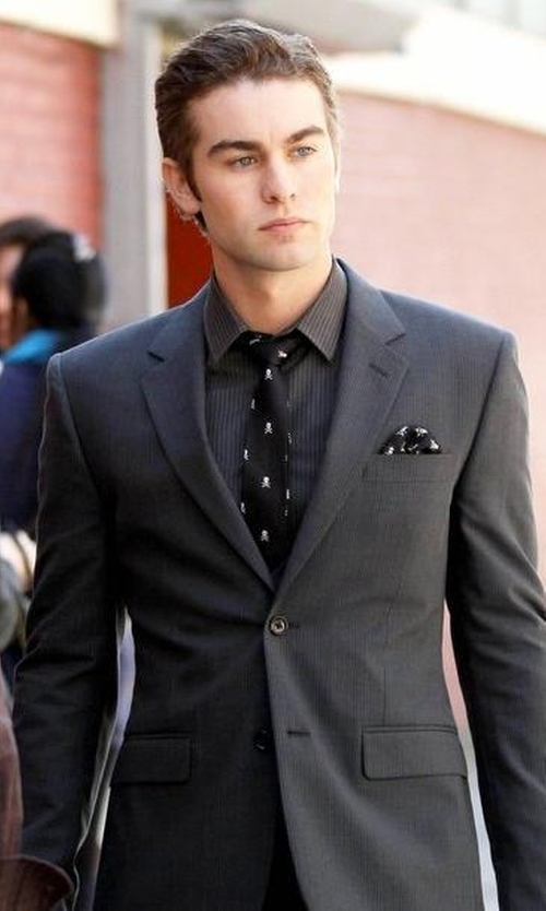 Chace Crawford with The Tie Bar Skull And Crossbones Pocket Square in Gossip Girl