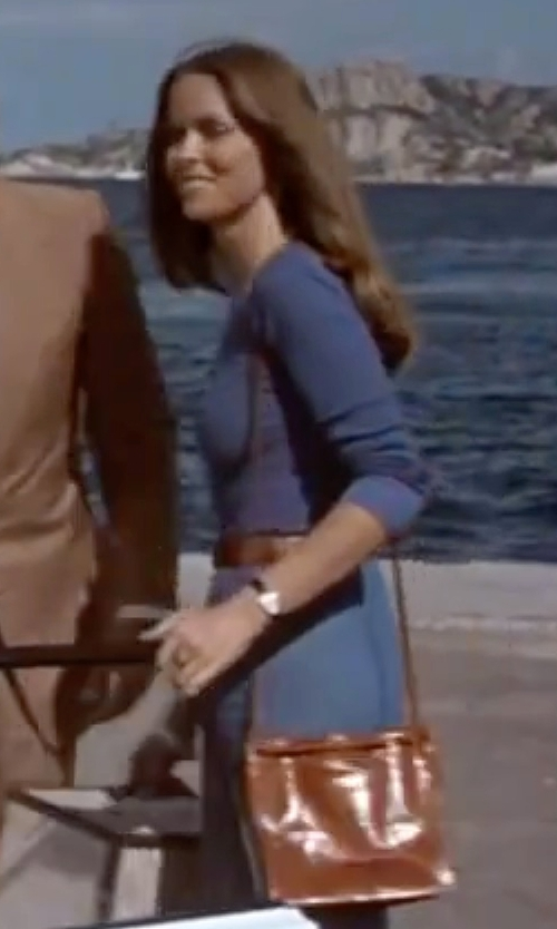 Barbara Bach with Tory Burch Rectangular Leather Strap Watch in The Spy Who Loved Me