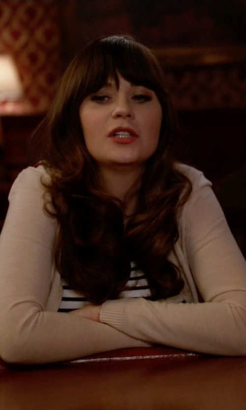 Zooey Deschanel with Lafayette 148 Long Sleeve Silk & Cashmere Cardigan in New Girl