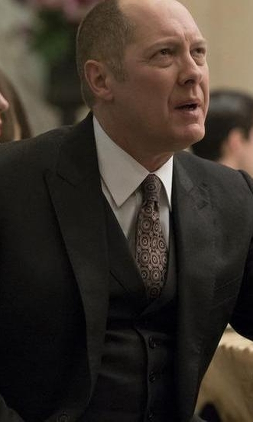 James Spader with Calvin Klein Mini Herringbone Peak Lapel Vested Suit in The Blacklist