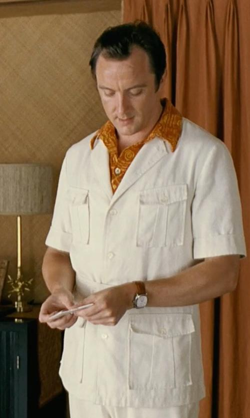 Peter Serafinowicz with Paradise Found Mens Monstera Palm Shirt in Couple's Retreat