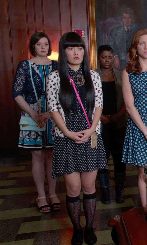 Hana Mae Lee with The LImited Floral Drape Front Cardigan in Pitch Perfect 2