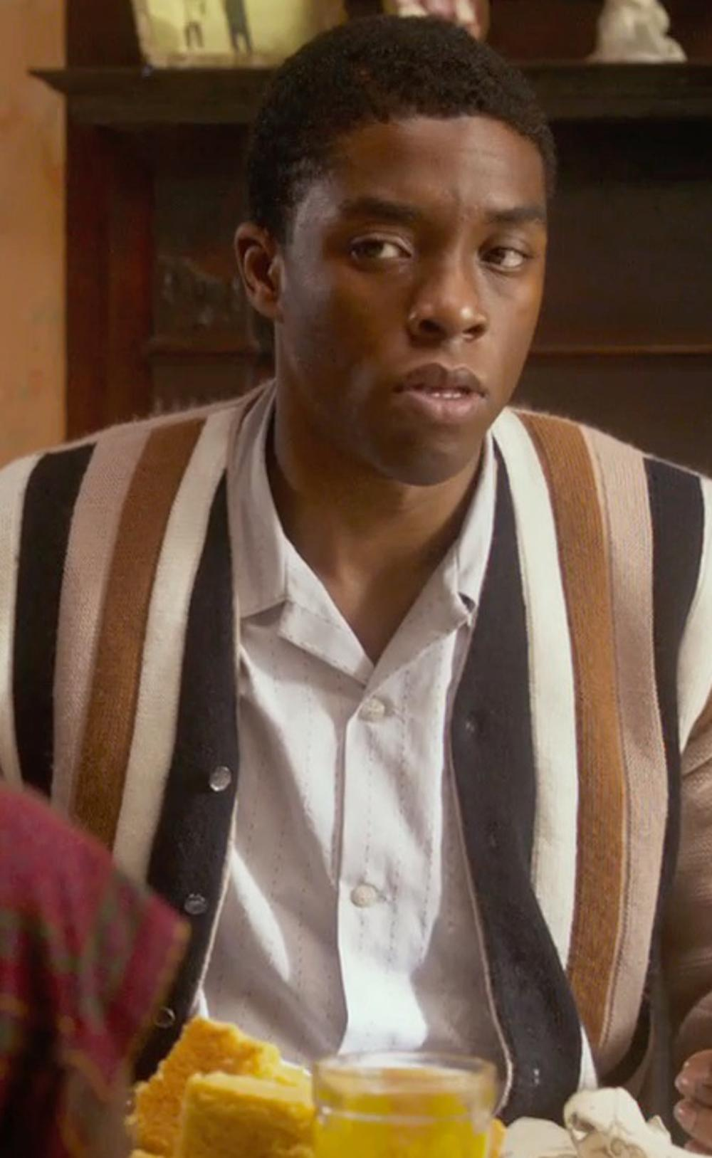 Chadwick Boseman with Neiman Marcus Trim-Fit Non-Iron White-On-White Dress Shirt in Get On Up