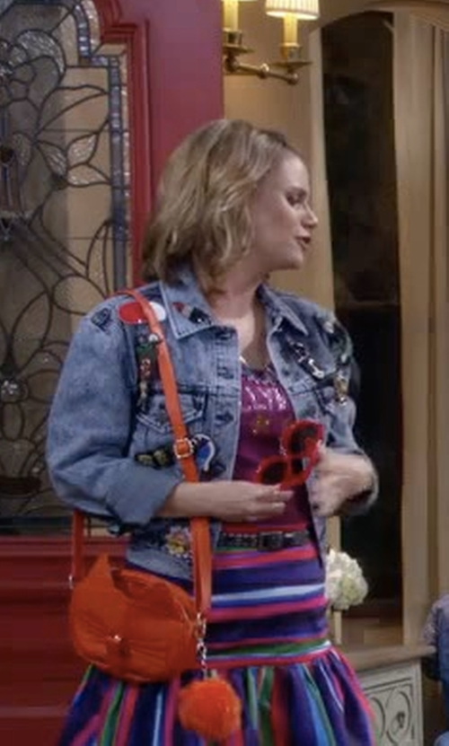 Andrea Barber with Modcloth Do You Have to Let It Whisker? Bag in Fuller House