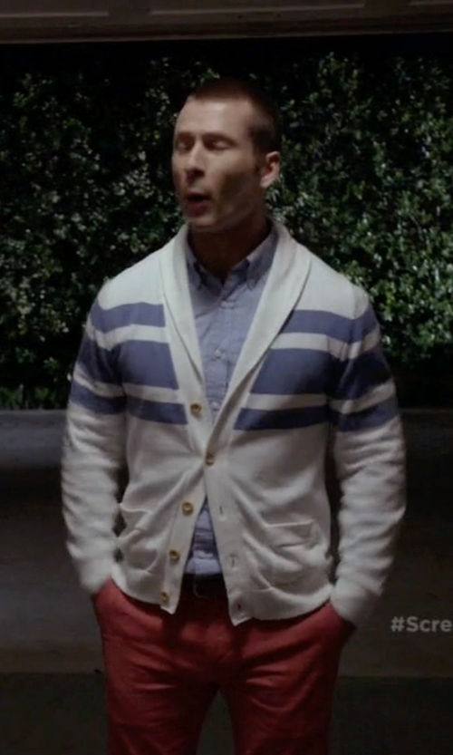Glen Powell with Kiton Slim Fit Trousers in Scream Queens
