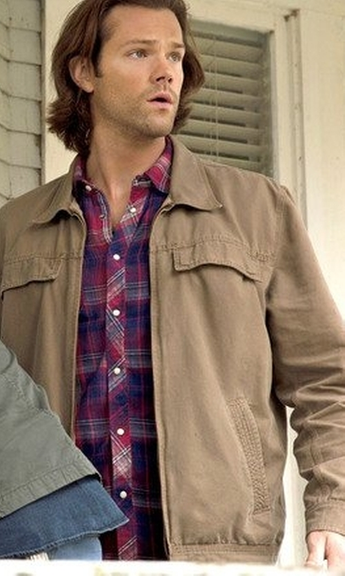 Jared Padalecki with Dockers Men's Micro-Twill Classic Zip-Front Jacket in Supernatural