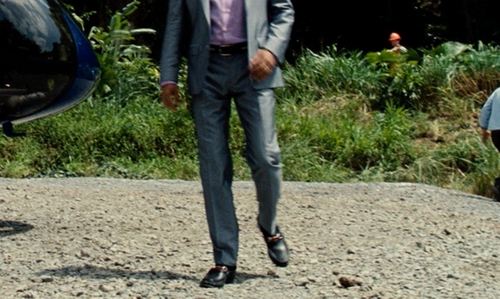 Irrfan Khan with Gucci Black Leather Horsebit Loafers in Jurassic World