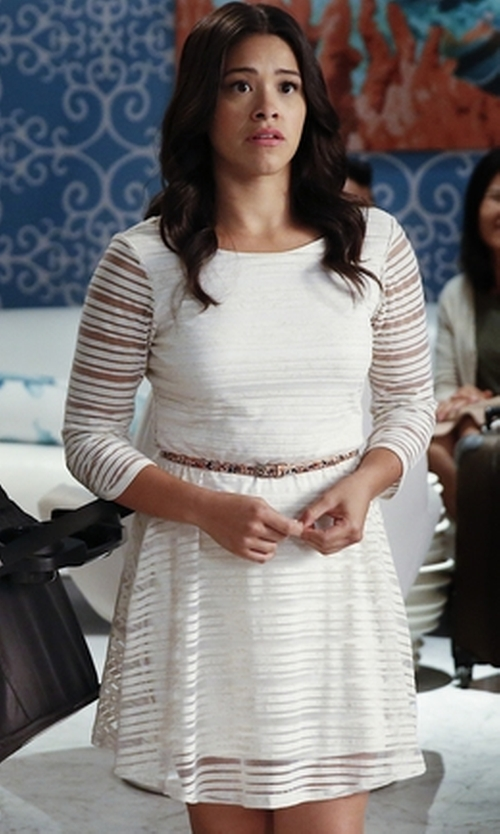 Gina Rodriguez with Lily Rose Shadow Stripe Dress in Jane the Virgin