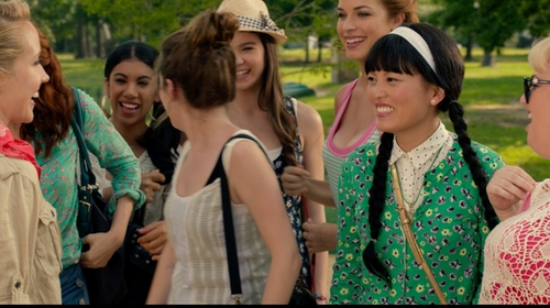 Hana Mae Lee with J.Crew Factory Retro Floral Clare Cardigan in Pitch Perfect 2