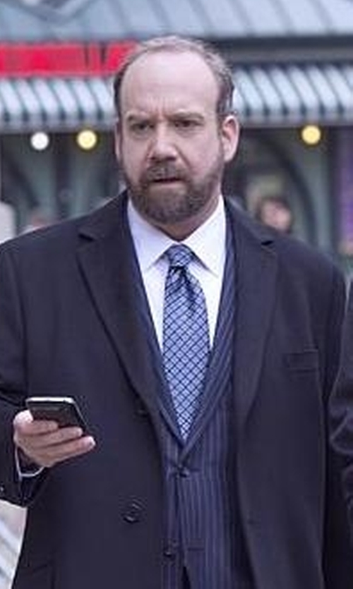 Paul Giamatti with Hugo Boss Check Printed Silk Tie in Billions
