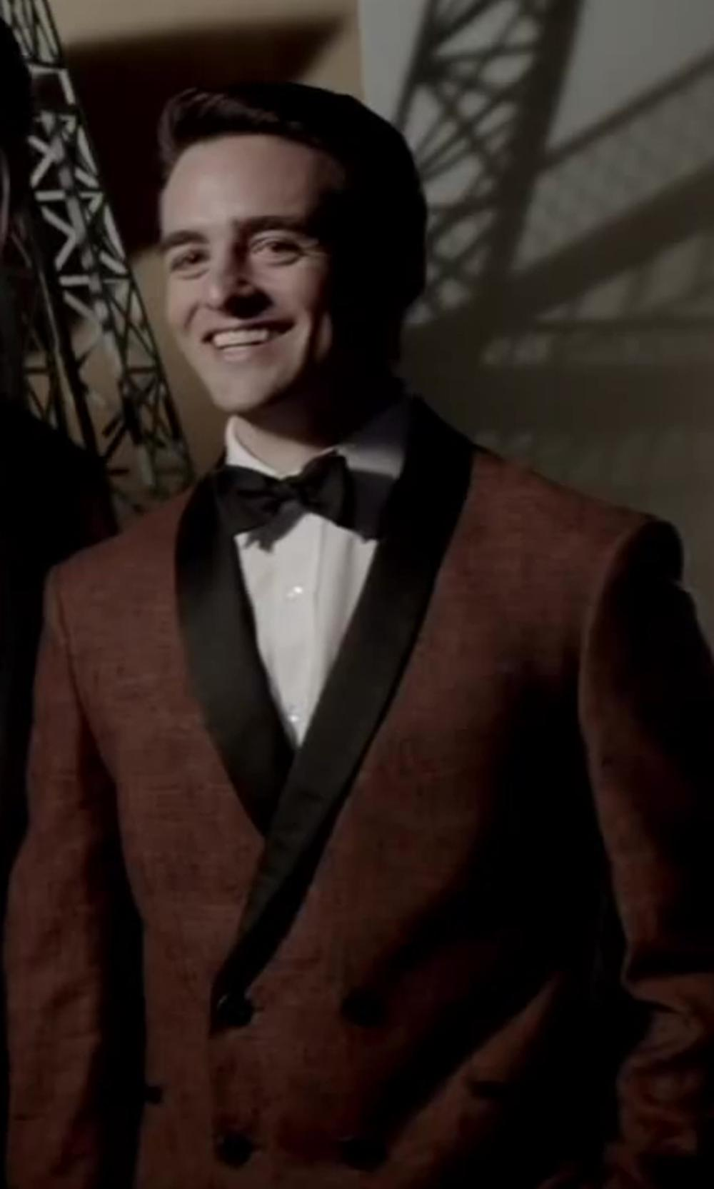 Vincent Piazza with Aliexpress Red peaking lapel double breast suit in Jersey Boys