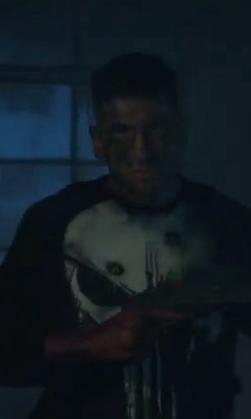 Jon Bernthal with Neiman Marcus Mixed-Textured Crewneck Sweater in Marvel's The Punisher