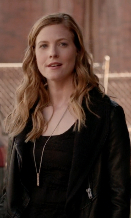 Elizabeth Blackmore with Express Faux Fur Lined Biker Jacket in The Vampire Diaries