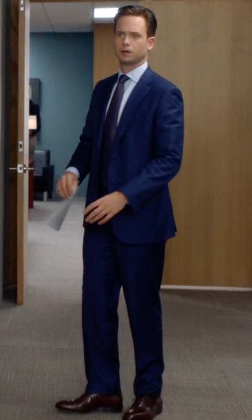 Patrick J. Adams with A. Testoni Black Label Oxford Shoes in Suits