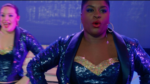 Ester Dean with Custom Sequin Tuxedo Jacket in Pitch Perfect 2