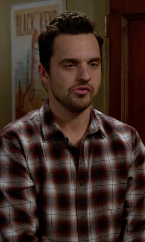 Jake Johnson with 7 For All Mankind  Plaid Long-Sleeve Shirt in New Girl