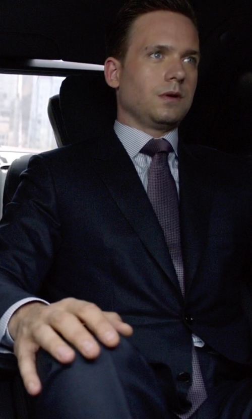 Patrick J. Adams with Armani Collezioni Twill Two-Button Suit in Suits