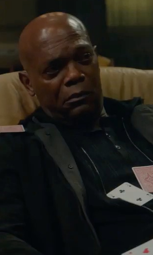 Samuel L. Jackson with Peter Millar Modena Reversible Trenchcoat in The Hitman's Bodyguard