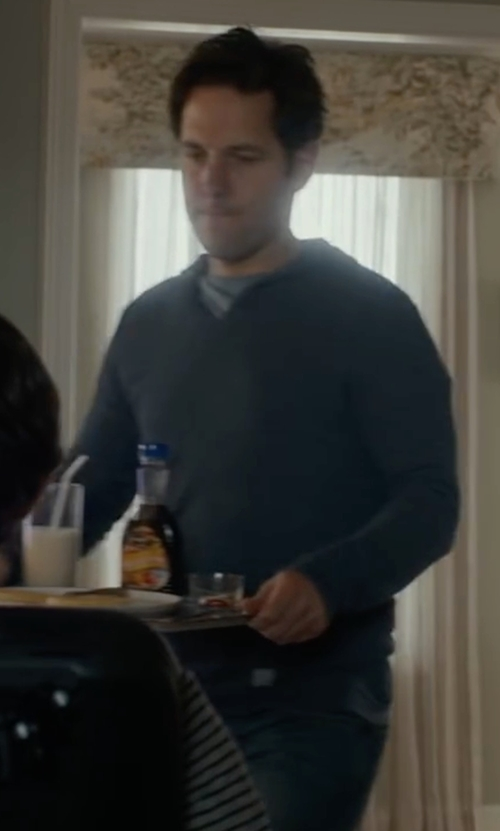 Paul Rudd with Spenglish Pima Cotton Henley Hooded Sweater in The Fundamentals of Caring