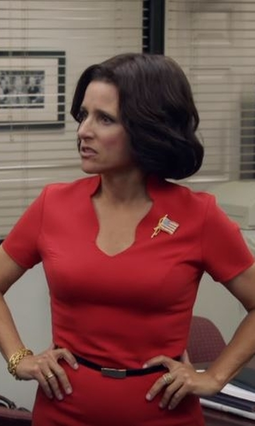 Julia Louis-Dreyfus with Black Halo Gypsy Rose Sheath Dress in Veep