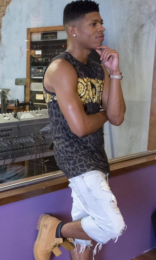 Bryshere Y. Gray with NSF Chuck Distressed Denim Shorts in Empire