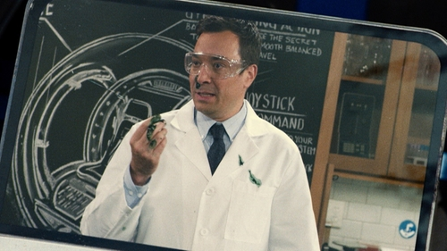 Jimmy Fallon with Nordstrom Men's Shop Smartcare Wrinkle Free Traditional Fit Pinpoint Dress Shirt in Jurassic World