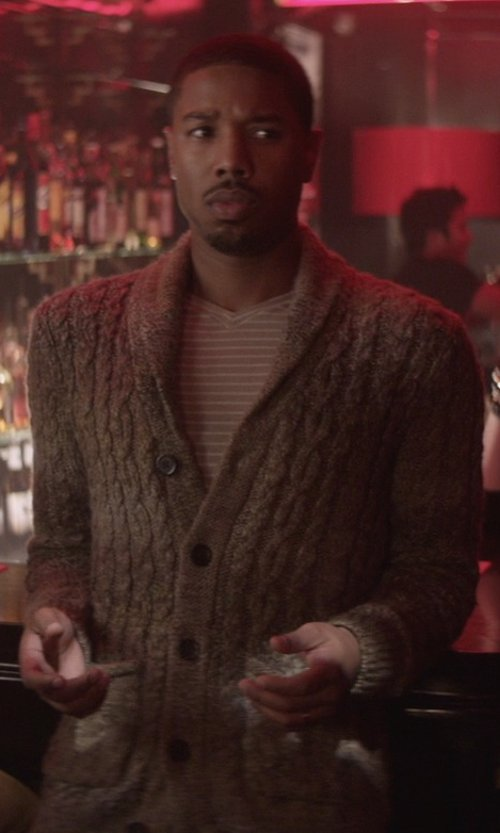 Michael B. Jordan with Umit Benan Brown Cable Knit Cardigan in That Awkward Moment