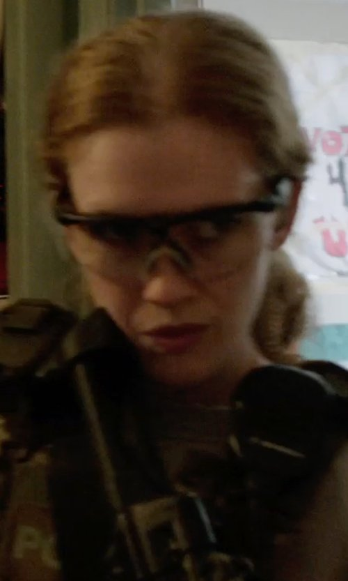 Mireille Enos with UVEX Genesis Military Eye Protection Kit in Sabotage