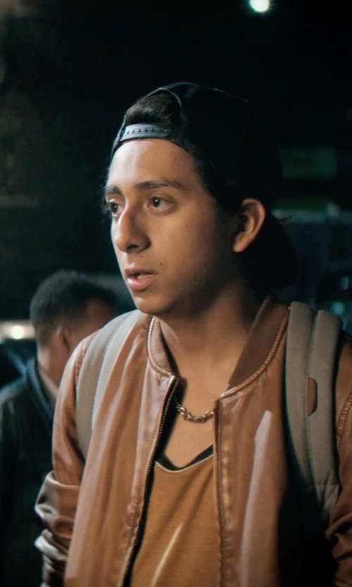 Tony Revolori with FactoryExtreme Majore Bomber Leather Jacket in Dope