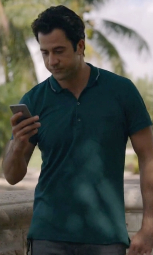 Troy Garity with Brunello Cucinelli Five-Button Jersey Knit Polo Shirt in Ballers