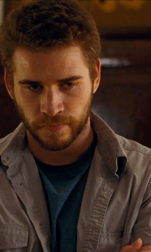 Liam Hemsworth with Volcom Paxton Short Sleeve Shirt in Cut Bank