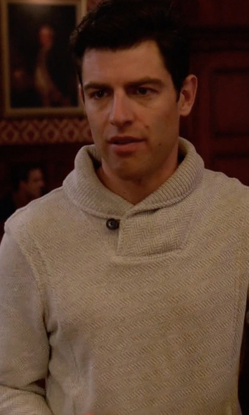 Max Greenfield with Billy Reid Trevor Shawl Collar Pullover in New Girl