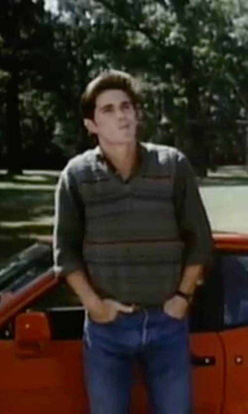 Michael Schoeffling with Vince Camuto Chambray Solid Dress Shirt in Sixteen Candles