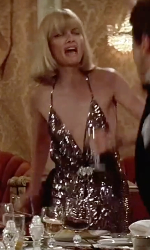 Michelle Pfeiffer with Patricia Norris (Costume Designer) Deep Neck Sequin Evening Dress in Scarface