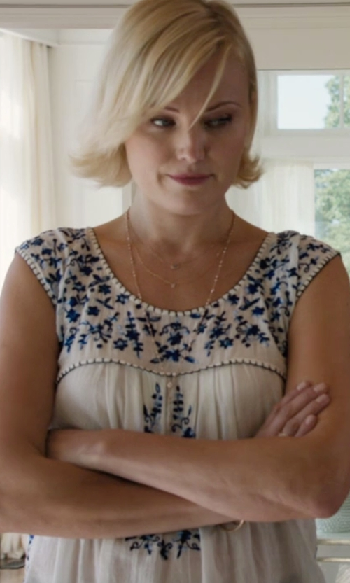 Malin Akerman with Democracy Embroidered Hanky Hem Tank in Billions