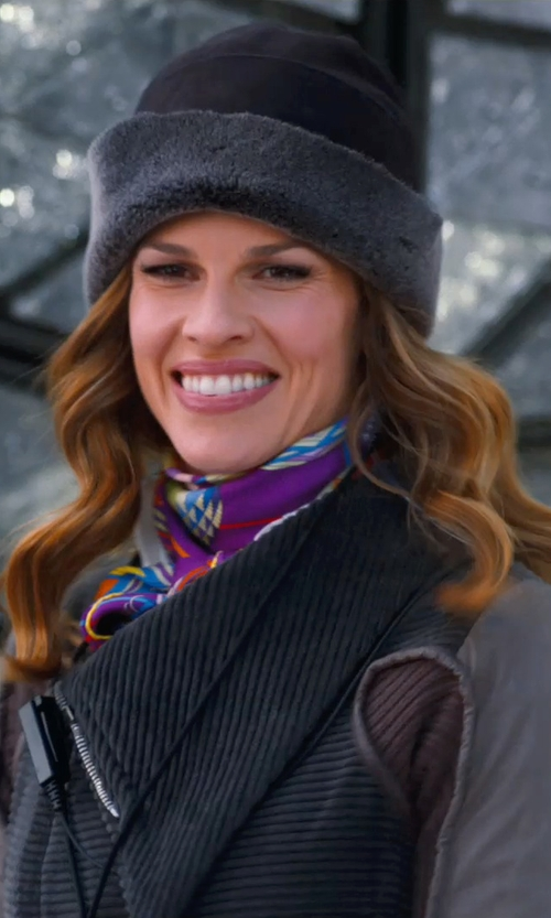 Hilary Swank with Isabel Marant Étoile Paco Skull Cap in New Year's Eve