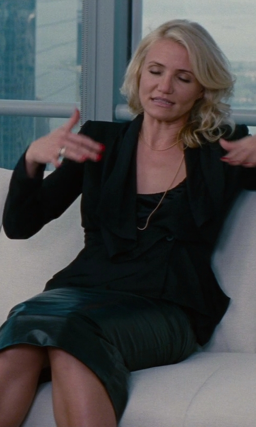 Cameron Diaz with Rick Owens Stretch Pillar Leather Skirt in Black in The Other Woman