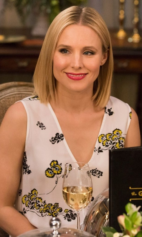 Kristen Bell with A.L.C. Hadley Dress In Eggshell & Mint in The Good Place