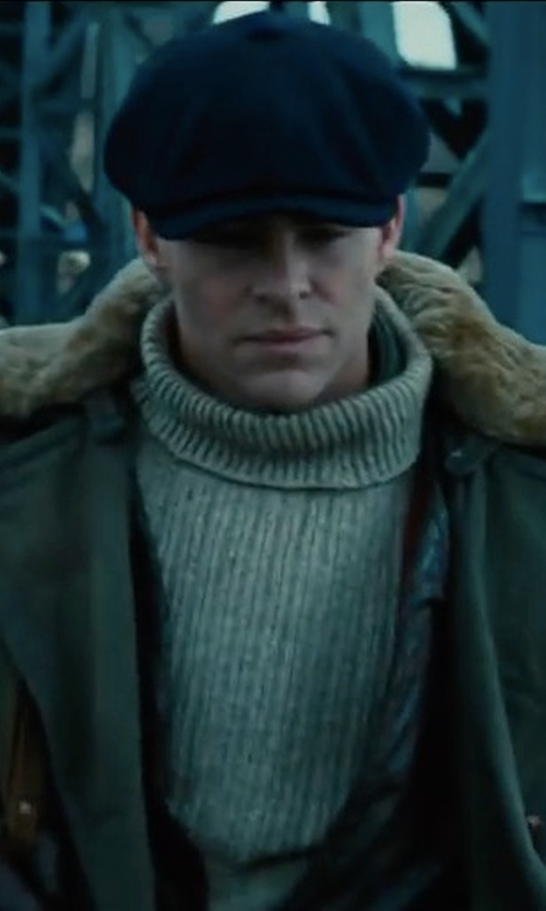 Chris Pine with Burberry Shenley Wool Sweater in Wonder Woman