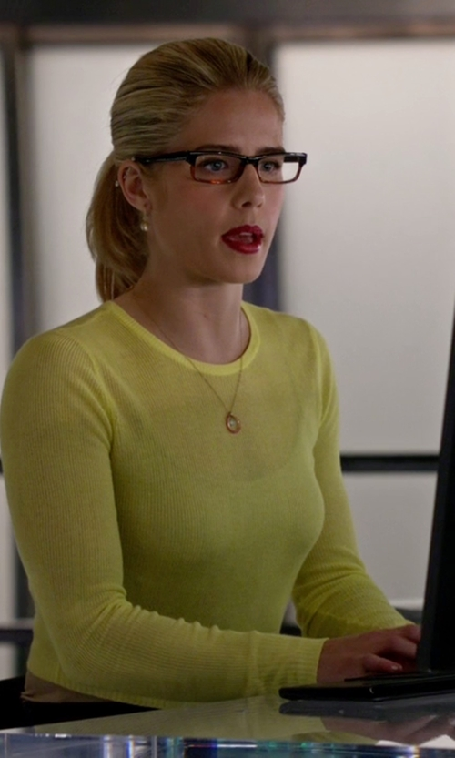Emily Bett Rickards with Alice + Olivia Eamon Sheer Cropped Sweater in Arrow