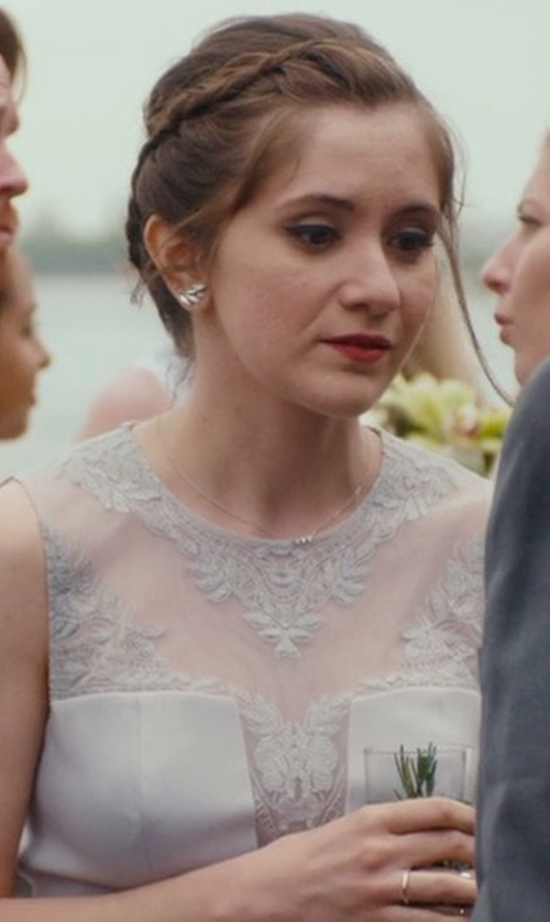 Noël Wells with B. Darlin Embellished Sleeveless Lace Gown in Master of None