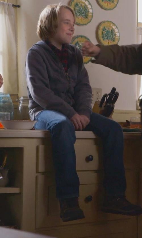 Ed Oxenbould with Timberland Kids White Ledge Lace Hiker Shoes in The Visit