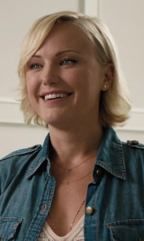 Malin Akerman with Rebecca Taylor Gold Vale Diamond Slice Necklace in Billions