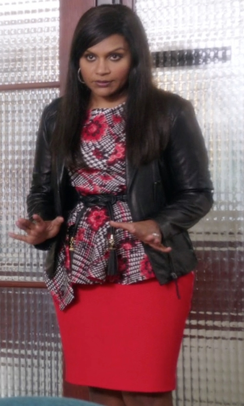 Mindy Kaling with St. John Collection Textured Twill Pencil Skirt in The Mindy Project