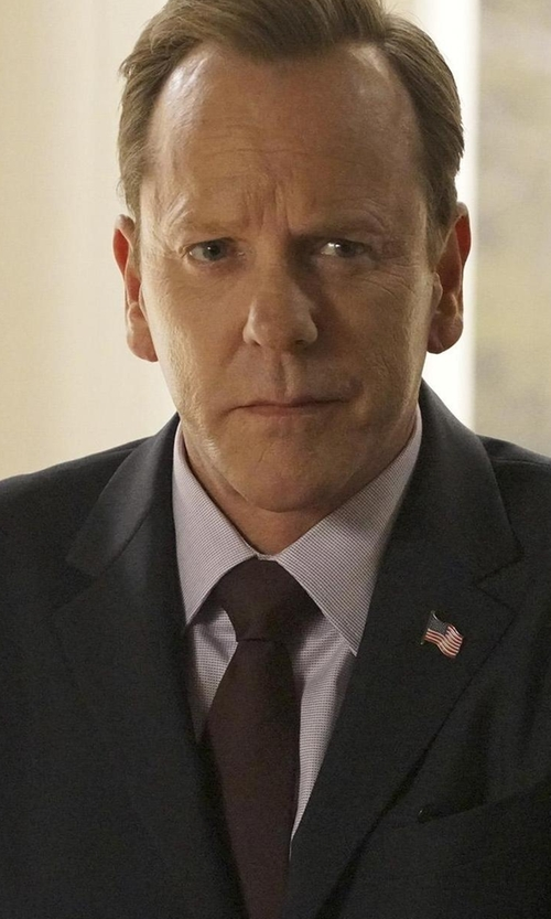 Kiefer Sutherland with Brooks Brothers Milano French Cuff Dress Shirt in Designated Survivor