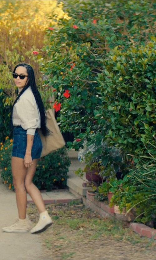 Zoë Kravitz with Street Level Colorblock Faux Leather Tote Bag in Dope