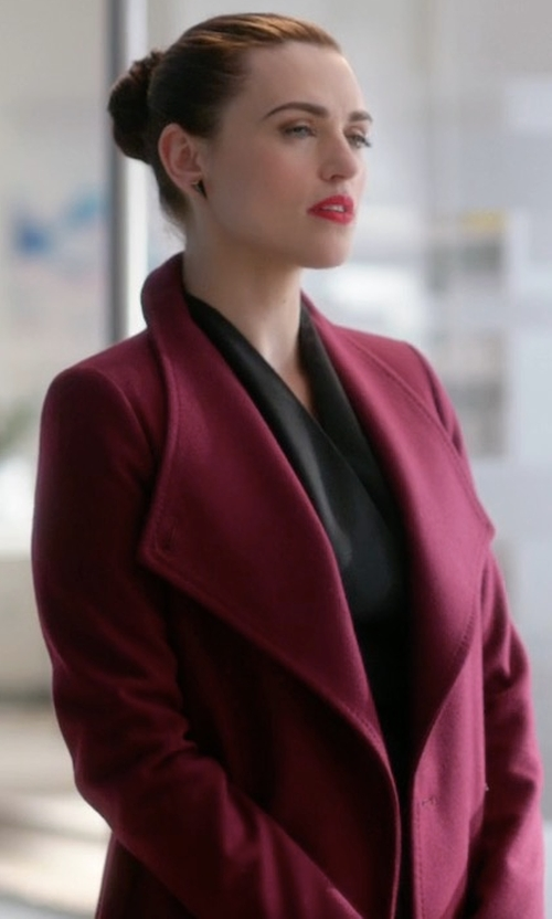 Katie McGrath with Armani Collezioni Double-Faced Wool Wrap Coat in Supergirl