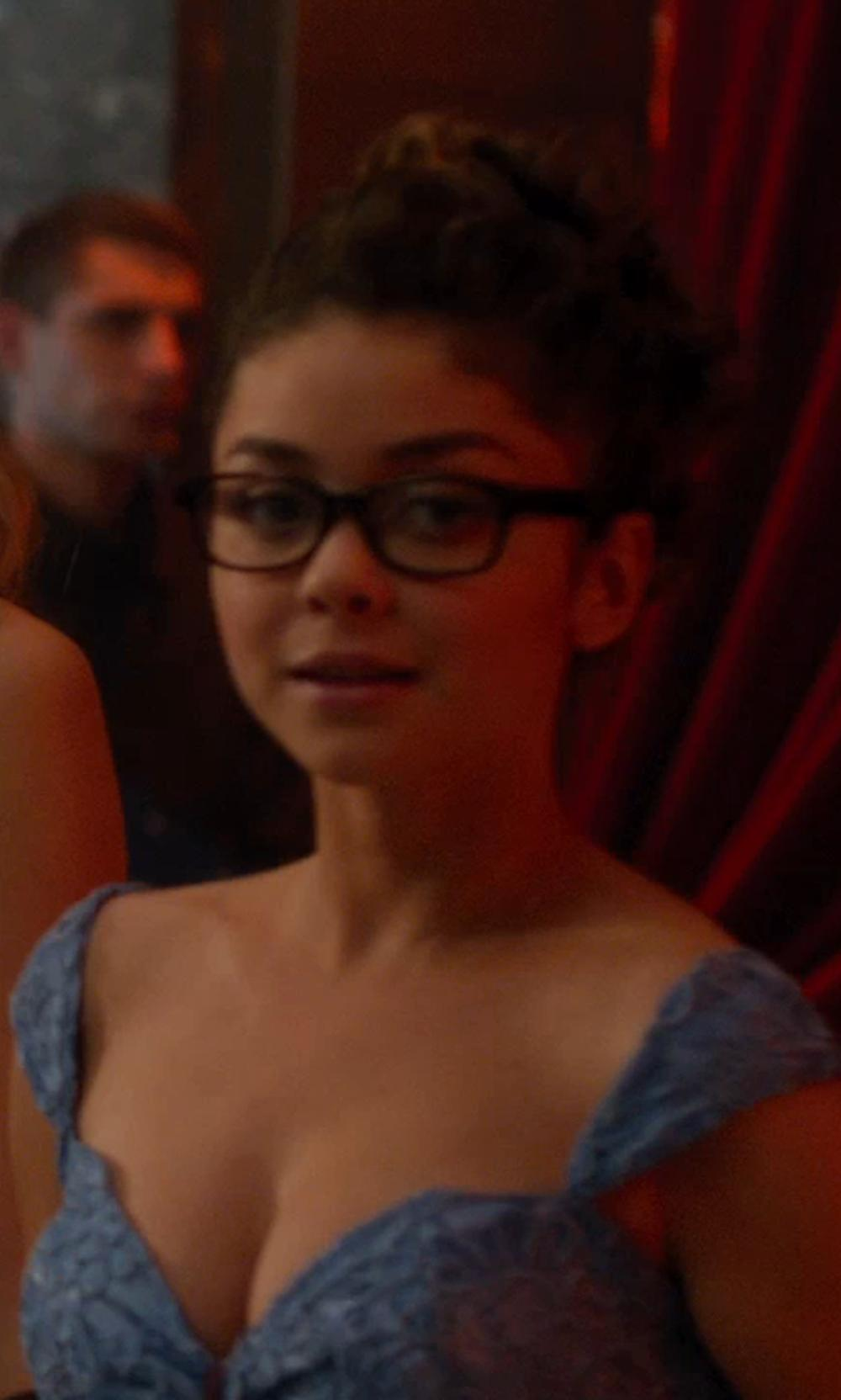Sarah Hyland with Tom Ford Eyewear Thick Square Eyeglasses/Black in Vampire Academy